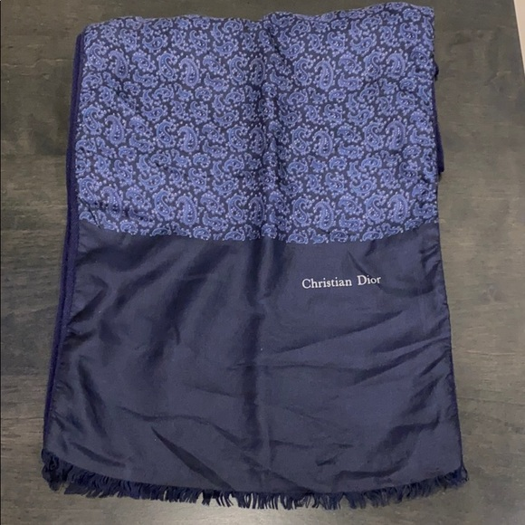 Dior Other - CHRISTIAN Dior silk/wool navy opera scarf for men.